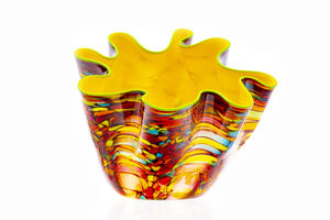 Dale Chihuly, 'Dale Chihuly Carnival Macchia with Green Lip, Signed Handblown Glass Contemporary Art', 2004