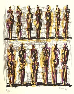 Thirteen standing figures (1958) (signed)