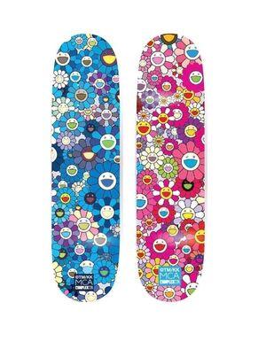 Multi Flower 8.0 Skate Deck - Pink and Blue