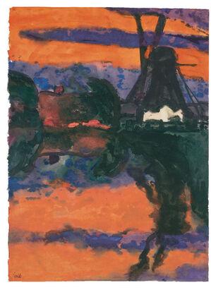 Abendlandschaft mit Mühle