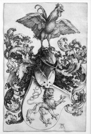 Coat of Arms with Lion and a Cock