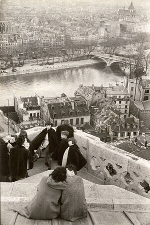 Schoolchildren Looking from the Top of Notre-Dame Cathedral at the Seine River, Paris