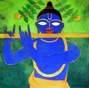 Subhaprasanna Bhattacharjee, 'The Golden Flute; rendition of Indian God Krishna in green with his famed flute by Post Modern Indian Artist Shuvaprasanna', 2017