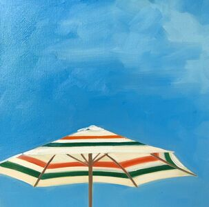 """T.S. Harris, '""""Picnic at the Shore"""" oil painting of an orange and green striped umbrella with blue sky', 2019"""