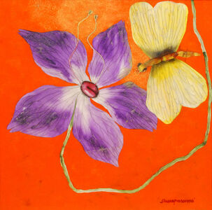 Subhaprasanna Bhattacharjee, 'Illusion II, yellow flowers on bright Orange canvas by Ace Indian Post Independence artist', 2018