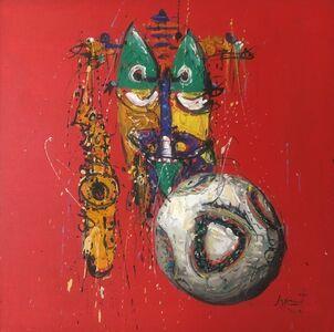 Jazzamoart, 'Mascara, sax y balon', 2010