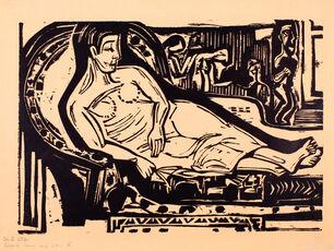 Liegende Frau auf Sofa (Reclining Woman on a Couch)