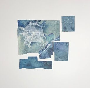 Cecilia Villanueva, 'Houston, a Dandelion from the Sky, City, aerial view, blue, white map, ink and oil, environmentalist, climate change', 2019