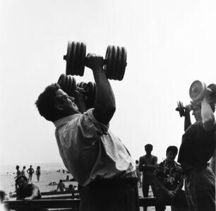 Larry Silver, 'Man with Dumb-bells, Muscle Beach, Santa Monica, CA', 1954