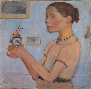 Paula Modersohn-Becker, 'Jeune Fille Tenant des Fleurs Jaunes dans un Verre ', 1902