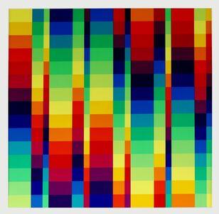 Richard Paul Lohse, '15 systematische farbreihen mit 5 gleichen horizontalen rhythmen', 1955-1972