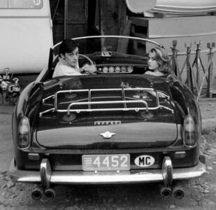 Edward Quinn, ' Alain Delon and Jane Fonda arriving at the film set of 'Les Felins' Antibes', 1964