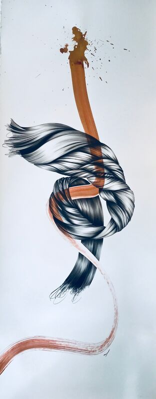 Joanne Julian, 'Untitled with Ribbon', 2001, Drawing, Collage or other Work on Paper, Graphite, ink on Arches paper, Tufenkian Fine Arts