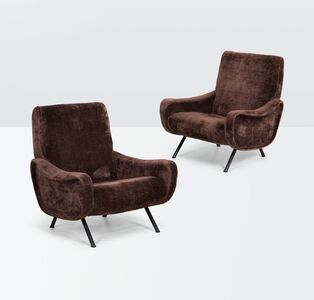 Marco Zanuso, 'a pair of Lady armchairs with a metal structure, brass feet and fabric upholstery', ca. 1950