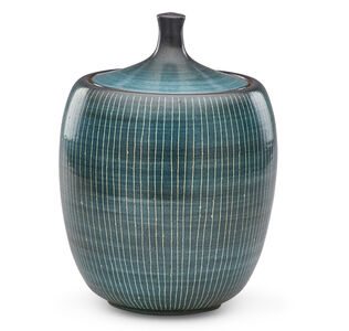 Harrison McIntosh, 'Covered jar with stripes, Claremont, CA', late 20th C.