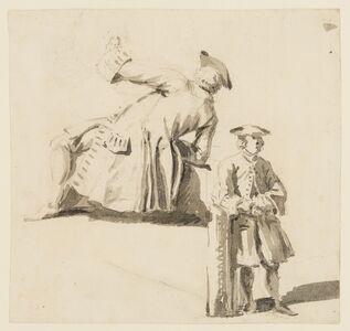 Samuel Scott, 'Two studies of a gentleman in a frock coat and tricorn hat'
