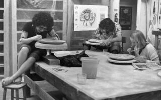 """Judy Chicago, 'Judy Chicago Working in """"The Dinner Party"""" Ceramics Studio', 1977"""
