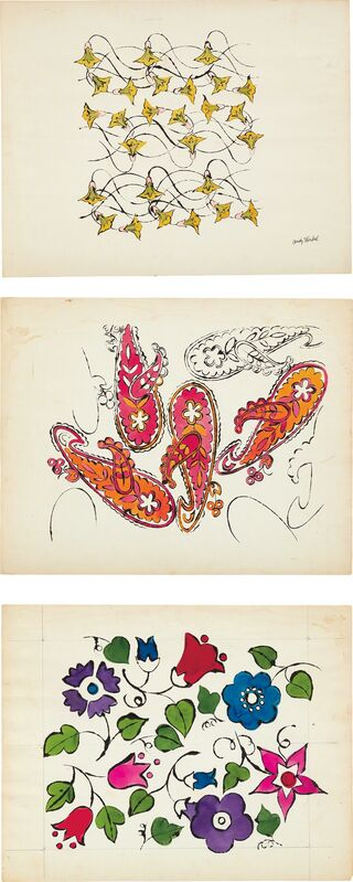 Andy Warhol, 'Three works: (i) Flowers – Yellow and Pink; (ii) Paisley; (iii) Floral Design', ca. 1959, Drawing, Collage or other Work on Paper, Watercolor and ink on paper, Phillips