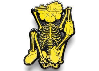 KAWS x NGV Skeleton Pin (Yellow)