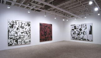 """David Ratcliff - """"I find a Burberry scarf and matching coat with a whale embroidered on it (something like a kid might wear) and it's covered with what looks like dried chocolate syrup crisscrossed over the front"""", installation view"""