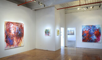 """Elizabeth Gilfilen """"Laid Ledge"""" and Jeremy Chandler """"Prone Positions"""" with works in the office by Stephen Benenson, installation view"""