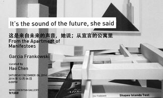 It's the sound of the future, she said from the apartment of manifestoes, installation view