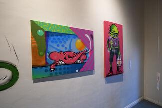 EWKUKS presents AngelOnce & GoopMassta: The Pink and Green Art Show, installation view