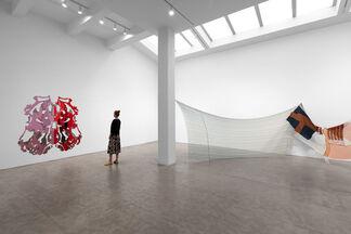 Lynda Benglis, Eric N. Mack, and Kelley Walker, installation view