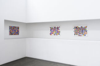 Peripheral thought, house photo word movie paint, singular color, installation view