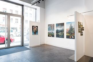 Abstract philosophes and other overpaintings, installation view
