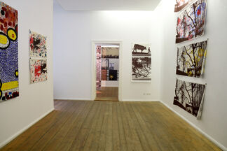 """""""Recent Silkscreens, Flatware and a Red Wall"""" by Mike Hentz, installation view"""