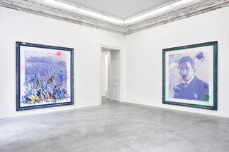 Elizabeth Taylor in a landscape, painting nature's beauty and the caress of the smirking sun over the mountains, installation view