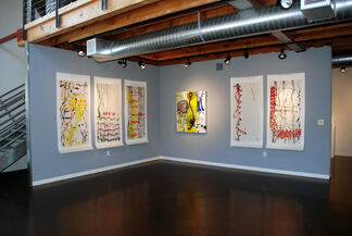 """""""Temporal Paintings"""" by Peter Wayne Lewis and """"Specific to the Pacific"""" by Dean DeCocker, installation view"""