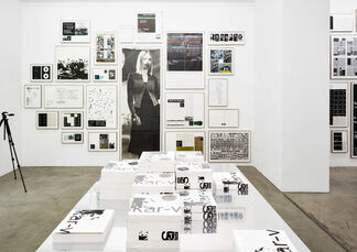 """MICHAEL RIEDEL """"record, label play back"""" (misunderstanding, ignorance, double blur), installation view"""