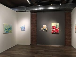 """Sunil Garg: """"Cause of Visible Things"""",  Candy Le Sueur : Between Consciousness and Dreams, Sandra DeSando: In the Swim: Islands and Streams"""", installation view"""