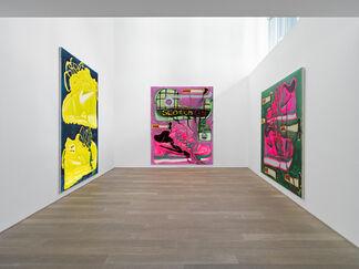 Katherine Bernhardt — Garfield on Scotch Tape, installation view