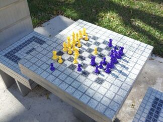 The Bass Projects - Jim Drain Chess Tables, installation view