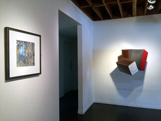 """""""Musical Chairs"""" by Robert Ortbal and """"Under Wraps"""" by S.R. Jones, installation view"""