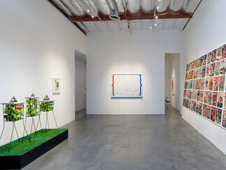 DENNIS KOCH:  Beyond the Funny Farm! Crypto-K, Cutouts, Cut-ups, Copies,  Mirrors, Membranes, and Temporal Algorithms, installation view