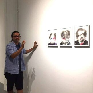 Fundraising exhibition:  Diary from the Dark, Diary of Hope ! by Aung Ko, Myanmar, installation view