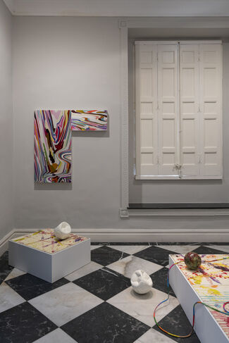 Kyungah Ham, Abstract, Poetry Weapon / Soccer Paintings by soccer ball bouncing over Crocodile River, installation view