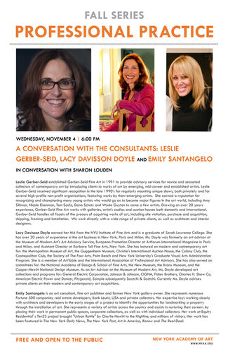 Panel Discussion on Art Advisors and Art Consultancy, Featuring Leslie Gerber-Seid, Emily Santangelo and Lucy Davisson Doyle, installation view