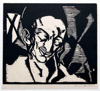 Todros Geller, 'Hasidic Student Palestine 30s Judaica Woodblock Woodcut Print Chicago WPA Artist', Early 20th Century