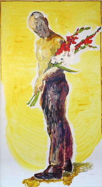Peter Schmersal, 'Mann mit Blumen', 2014