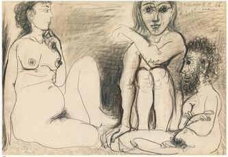 Trois personnages nus assis