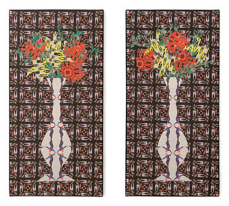 Jeffrey Augustine Songco, 'Red and Yellow Flowers in a Pair of White Vases (Diptych)', 2020