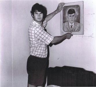 Roger Ballen, 'Factory worker holding portrait of grandfather ', 1996