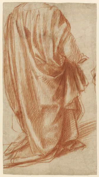 Andrea del Sarto, 'Drapery Study (recto), Study of a Nude Man (verso)', 1522-1525