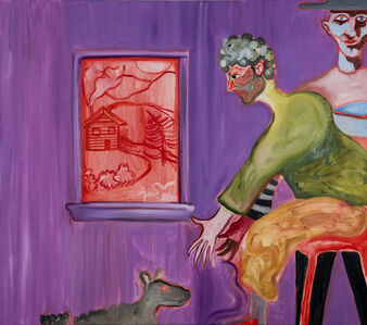 Brian Kokoska, 'Purple Interior (Couple with Rat Dog)', 2020