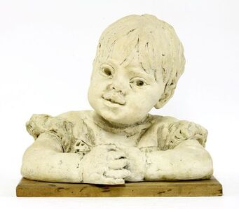 Barbara Tribe, 'Kimmy', baked clay, on a wooden plinth'